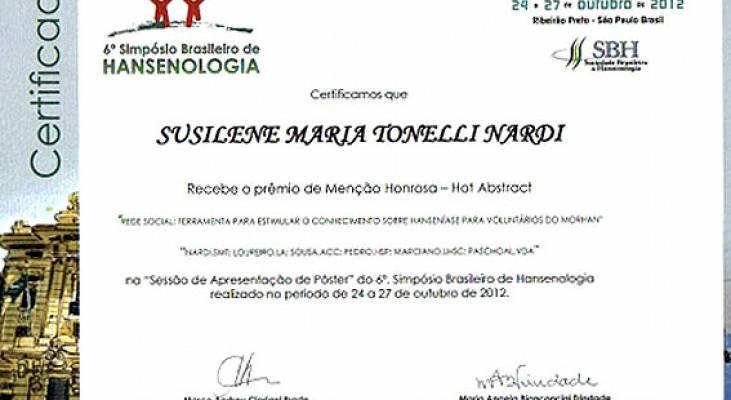 Trabalho de voluntários do Morhan recebe premiação no 6° Simpósio Brasileiro de Hansenologia