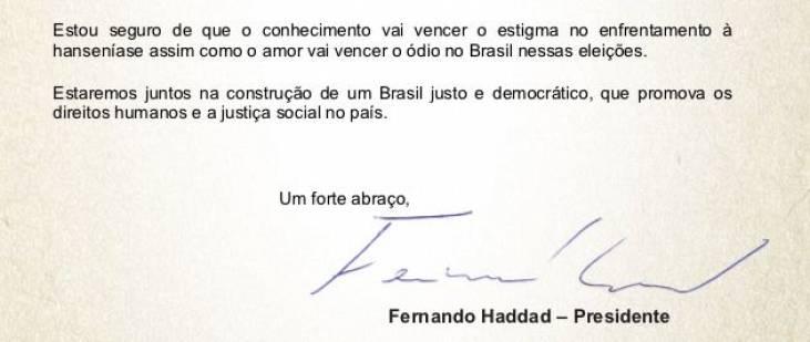 Candidato Fernando Haddad entrega carta de compromissos ao Morhan