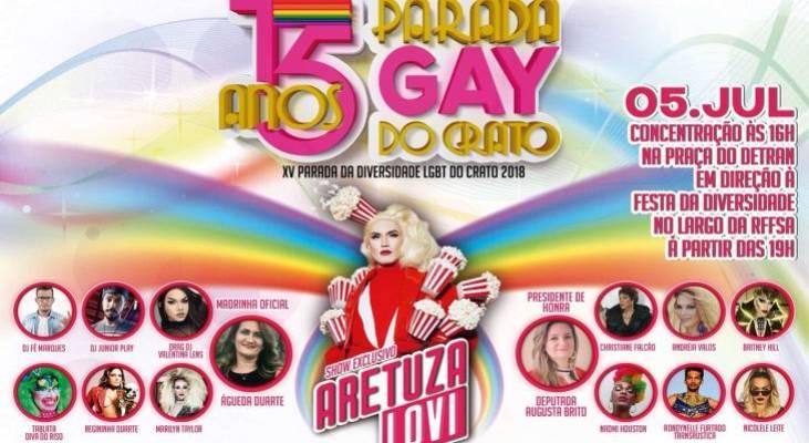 Parada da Diversidade LGBT do Crato/CE será no dia 5 de julho
