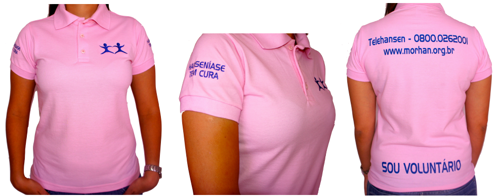 Camiseta Baby Look Polo Rosa