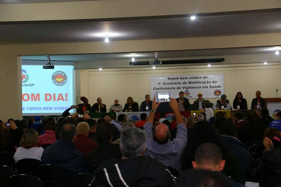 Primeiro seminário de mobilização para a Conferência Nacional de Vigilância em Saúde (CNVS) sendo realizado na sede do Sindicato de Saúde (São Paulo, 18/07/2017)